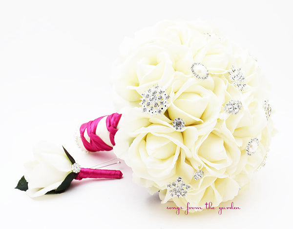 Fuchsia & White Bridal Bouquet Real Touch Roses & Rhinestones with Groom's Boutonniere