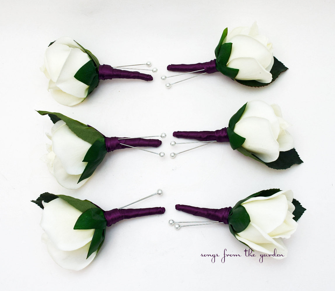 Plum White Real Touch Rose Boutonniere Buttonhole Groom Groomsmen