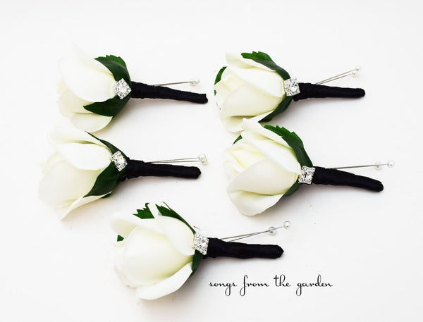 Black White Rose Rhinestone Boutonniere finished with Black Ribbon