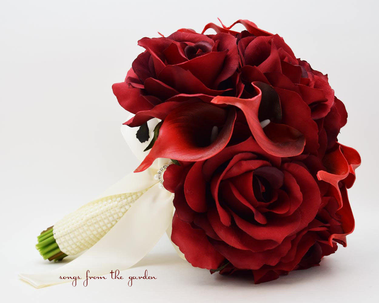Deep Red Silk Roses Deep Red Calla Lilies Bridal Bouquet Groom's Boutonniere With Pearl Accents