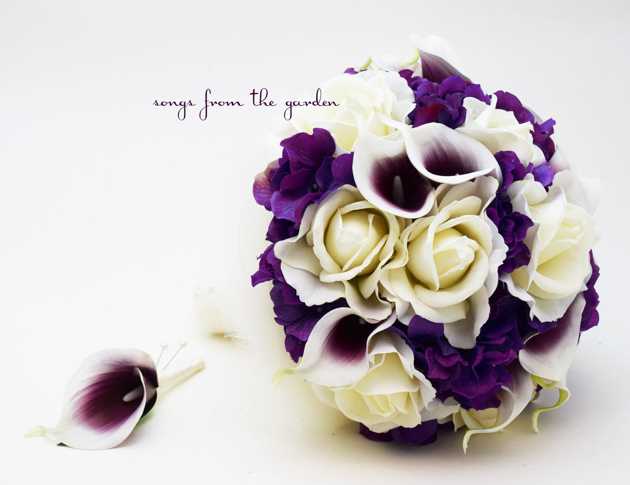 Purple Hydrangea Ivory Roses Picasso Calla Lilies Bridal Bouquet & Groom's Boutonniere
