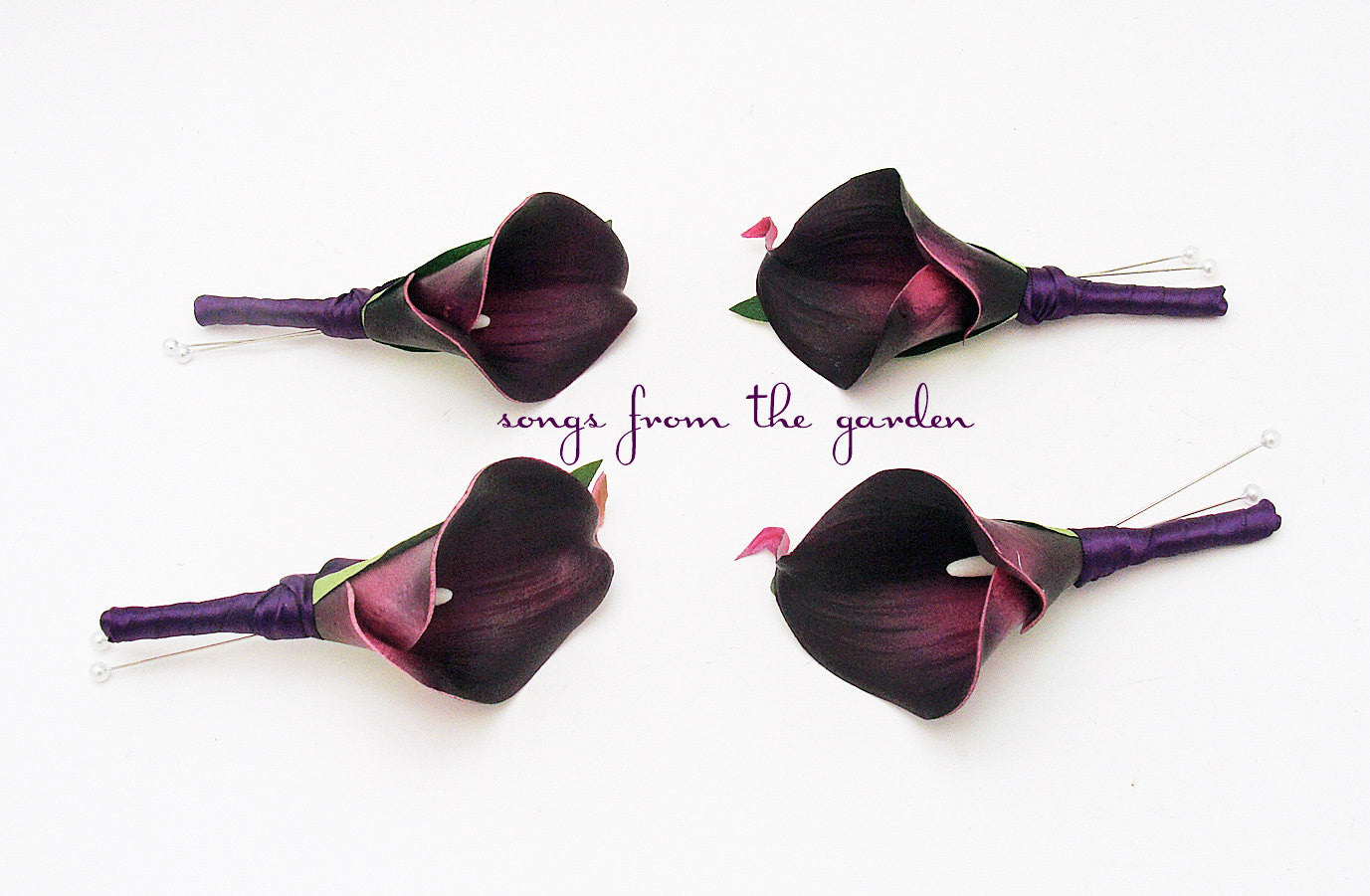 Plum Real Touch White Calla Lily Boutonniere Groom Groomsmen - Plum Callas