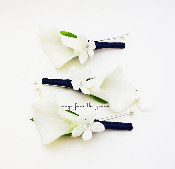 Real Touch Calla Lily Stephanotis Boutonniere Groom Groomsmen - Navy Ribbon