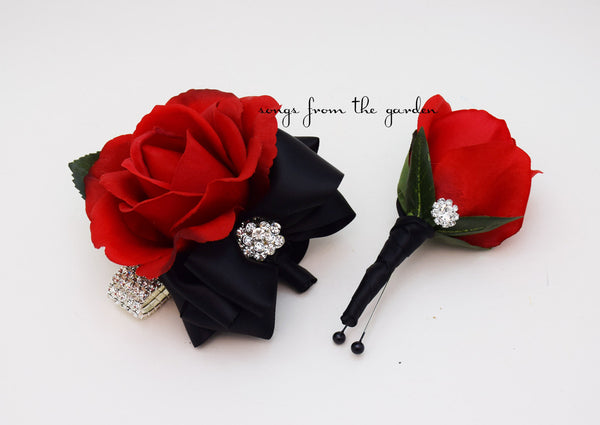 Corsage Black and Red with Rhinestones Real Touch Rose Wedding Boutonniere & Wedding Corsage