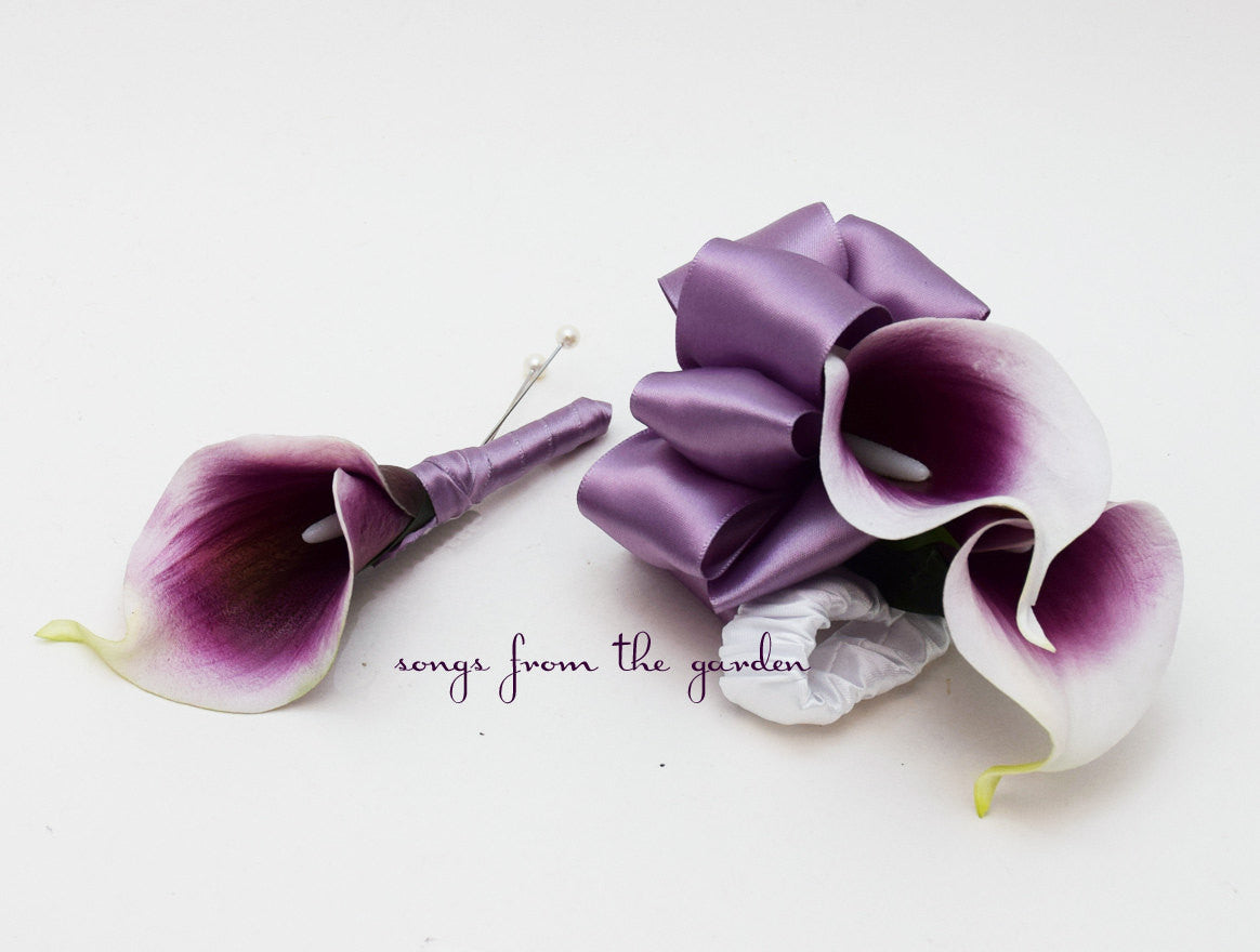 Real Touch Plum Purple Picasso Calla Lily Boutonniere Corsage Wedding Flowers Lavender Ribbon