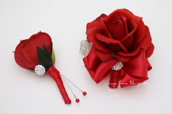 Red Rose Corsage & Boutonniere with Rhinestones - Wedding Homecoming Prom Corsage