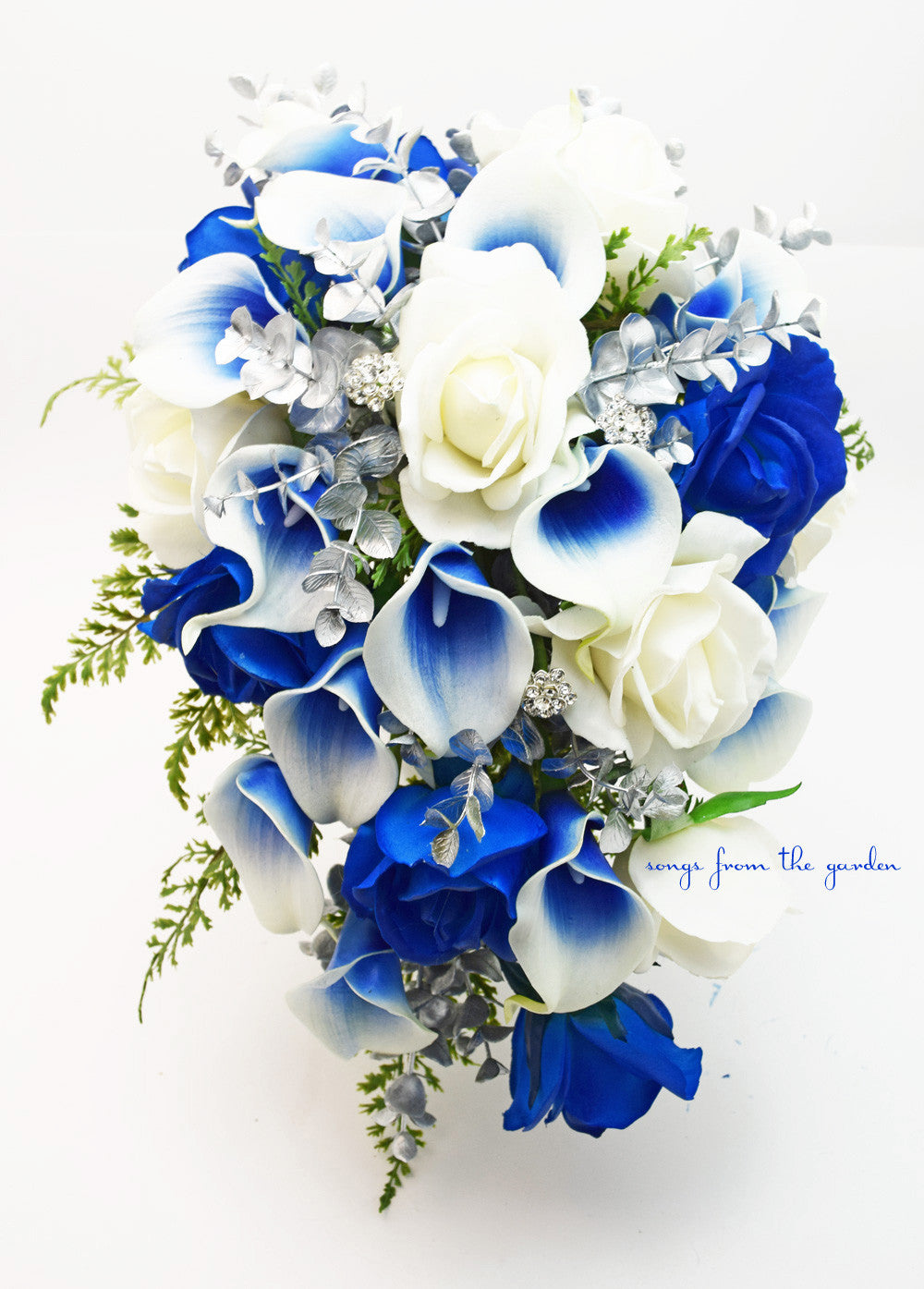 Silver Blue White Cascade Bridal Bouquet Blue Picasso Callas White Ros Songs From The Garden