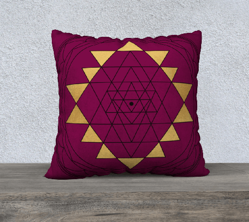 magenta sri yantra pillowcase