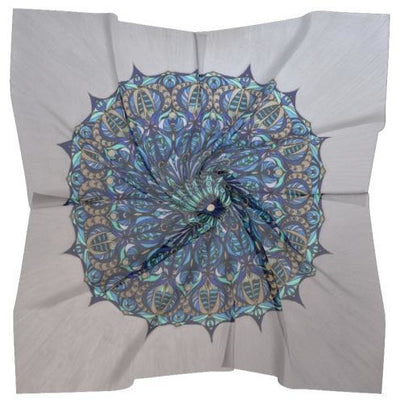 Blue and Silver Silk Scarf - The Seed of Life Mandala