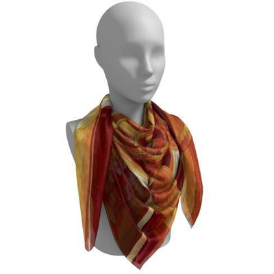Red and Orange Silk Scarf - The Photon Belt Mandala