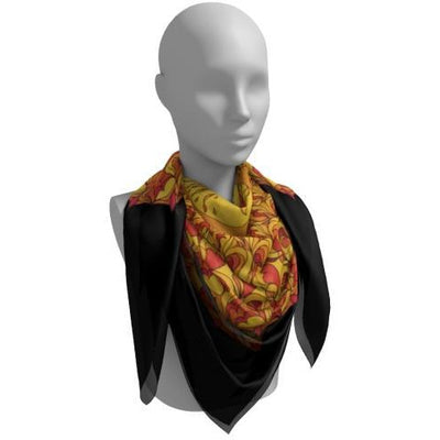 Red and Orange Silk Scarf - Phoenix Mandala