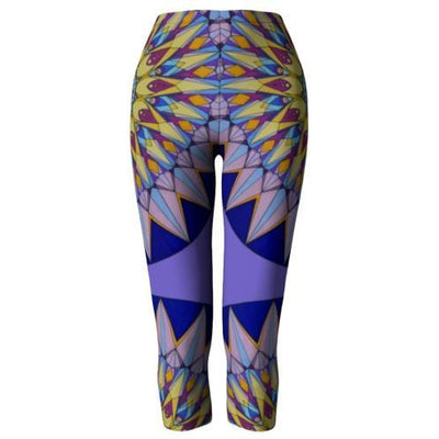 Purple and Blue Capri Leggings - The Crown Mandala