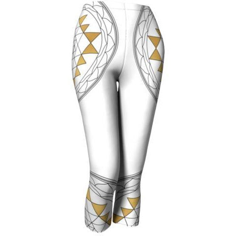 Mandala Capri Leggings - White Sri Yantra