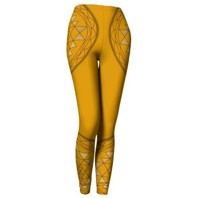 Orange and Gold Mandala Leggings - Sri Yantra Mandala
