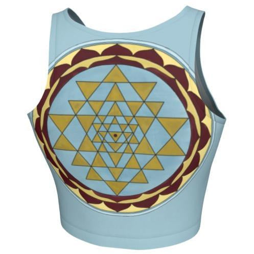 Crop Top - Gold and Blue Sri Yantra