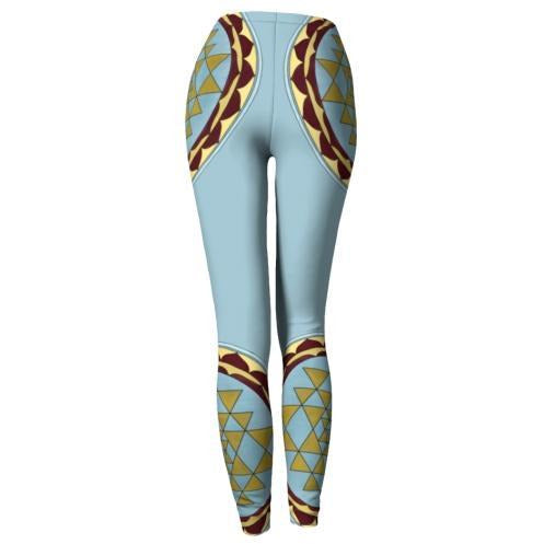 Blue and Gold Mandala Leggings - Sri Yantra Mandala
