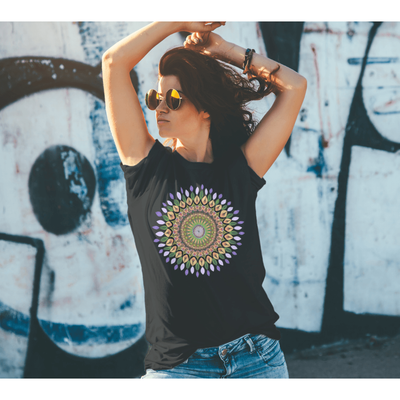woman wearing mandala t-shirt