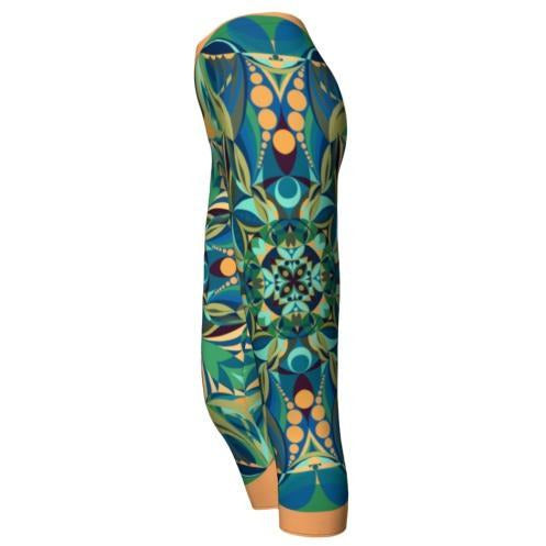 Green and Yellow Capri Leggings - Green Gaia Mandala
