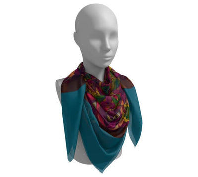 Teal Blue and Rich Red Silk Scarf - New Gaia Mandala
