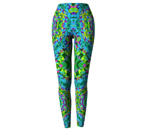 Purple and Green Mandala Leggings - The Green Ray Mandala