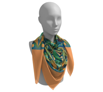 Green and Yellow Silk Scarf - Green Gaia Mandala