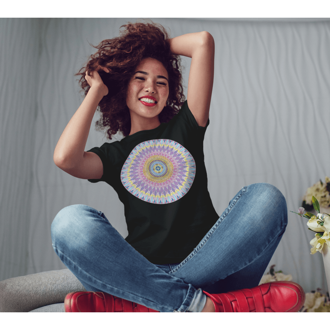 Women's Boho T-Shirt - New Sophia Mandala-Women's Tee (B+C 6004)-High Temple of Light-High Temple of Light