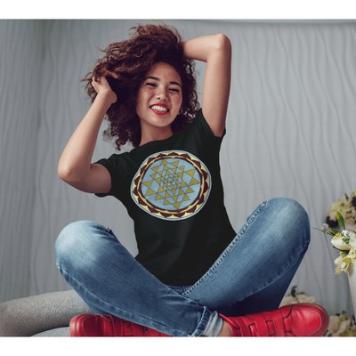 Women's Boho T-Shirt - Gold and Blue Sri Yantra-Women's Tee (B+C 6004)-High Temple of Light-High Temple of Light
