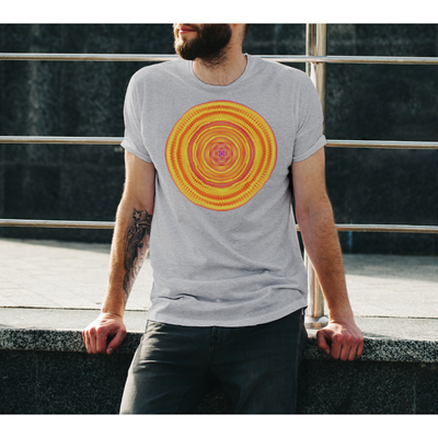 Men's Vibrant Orange Boho Design T-Shirt - Solaris Mandala