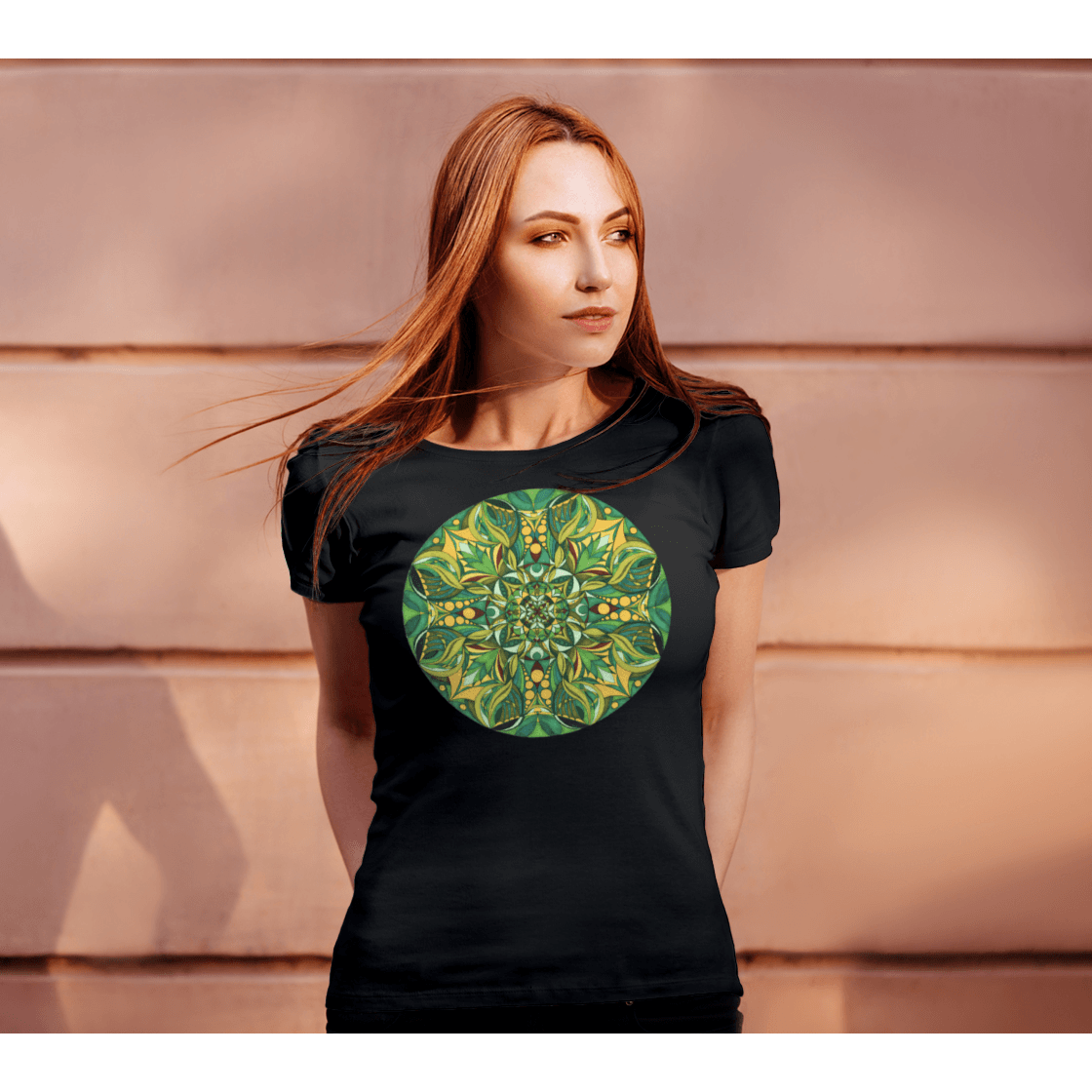 Women's Boho T-Shirt - Gaïa Mandala-Women's Tee (B+C 6004)-High Temple of Light-High Temple of Light