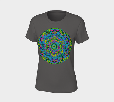 Green and Purple T-Shirt - The Green Ray Mandala