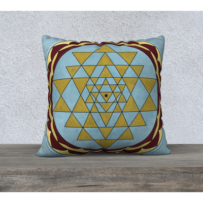 "Gold, Red and Blue Pillowcase - Square 22""x22"" - Gold Sri Yantra Design"