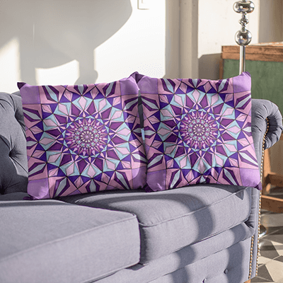 "Purple pillowcase - Square 22""x22"" - Amethyst Design"