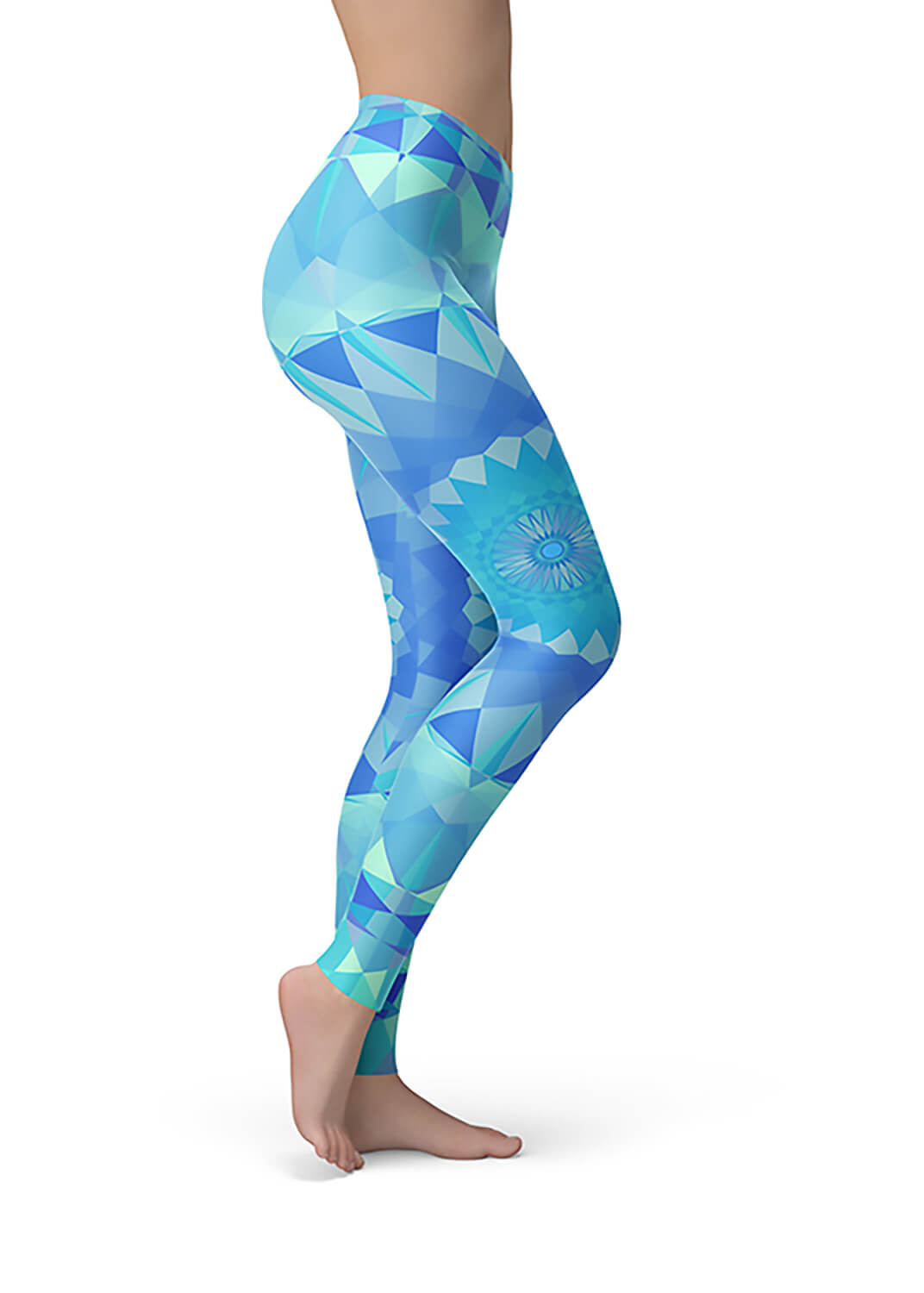 Aqua Blue Leggings - Aquamarine Mandala