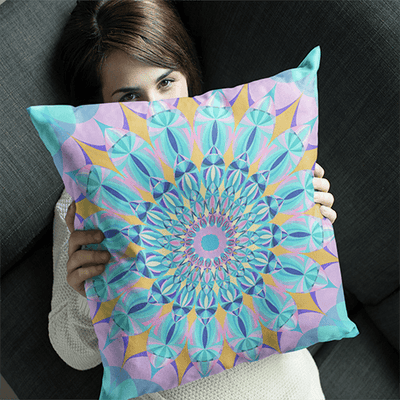 "Bright Pastel Square Pillowcase - Square 22""x22"" - Atlantis Design"