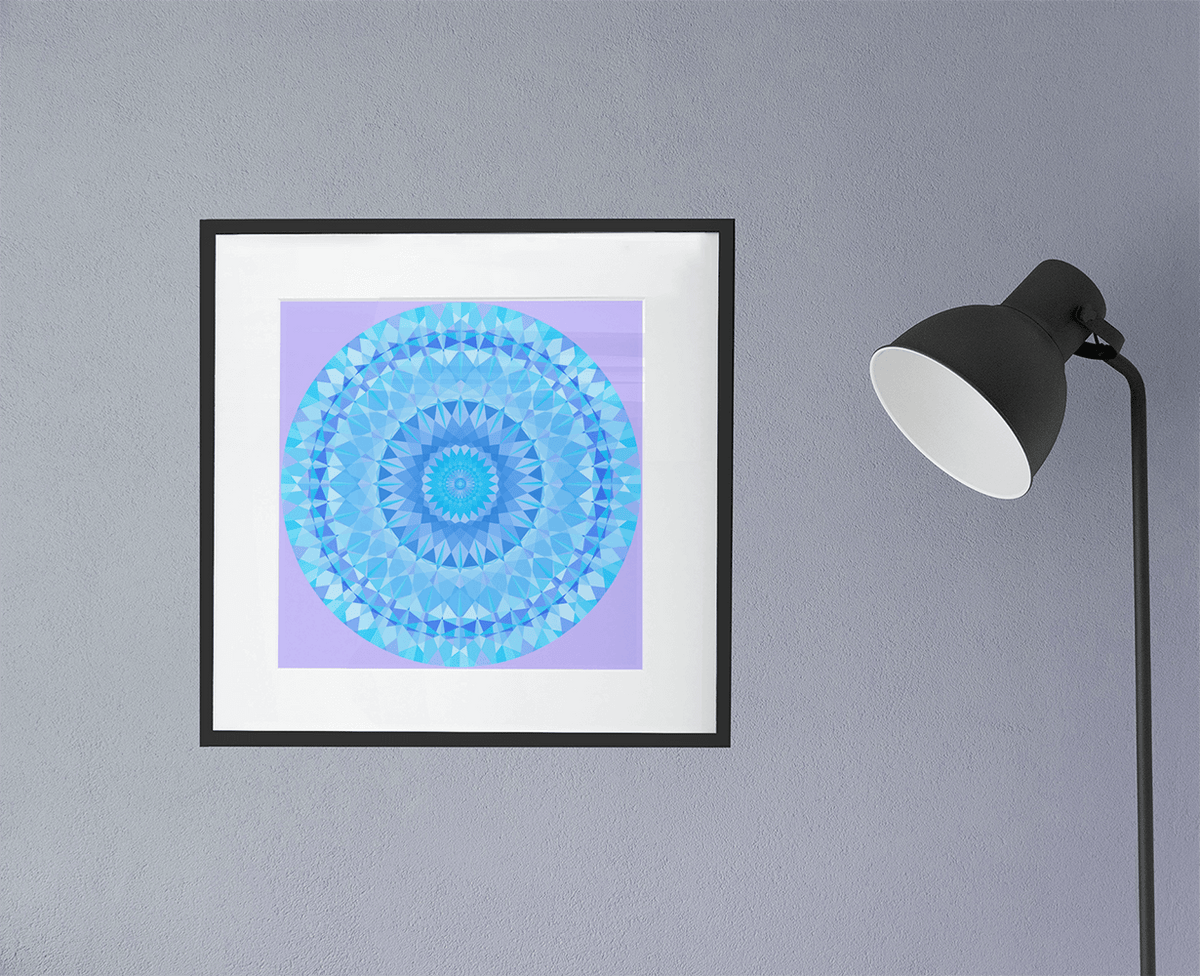 Blue Diamond with Purple Background Fine Art Print