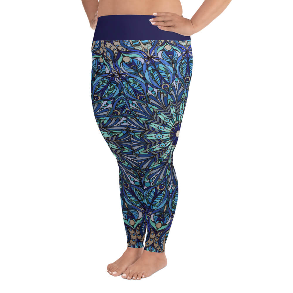Dark Blue Plus Size Leggings - Seed of Life Mandala
