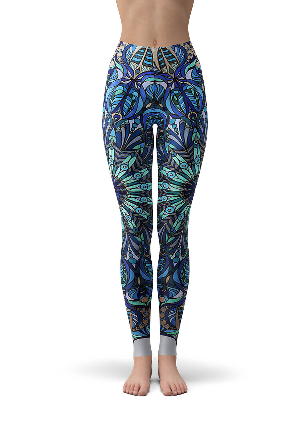 Blue and Silver Grey Mandala Leggings - The Seed of Life Mandala