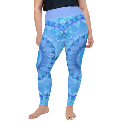 Blue Plus Size Leggings - Blue Diamond Design