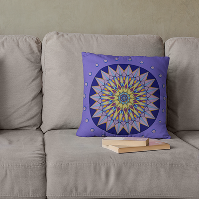 "Purple and Yellow Pillowcase - Square 22""x22"" - Crown Design"