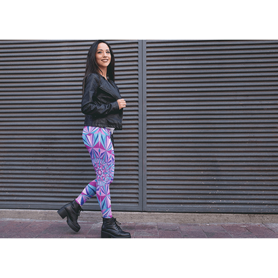 Blue and Pink Mandala Leggings - Diamond Light