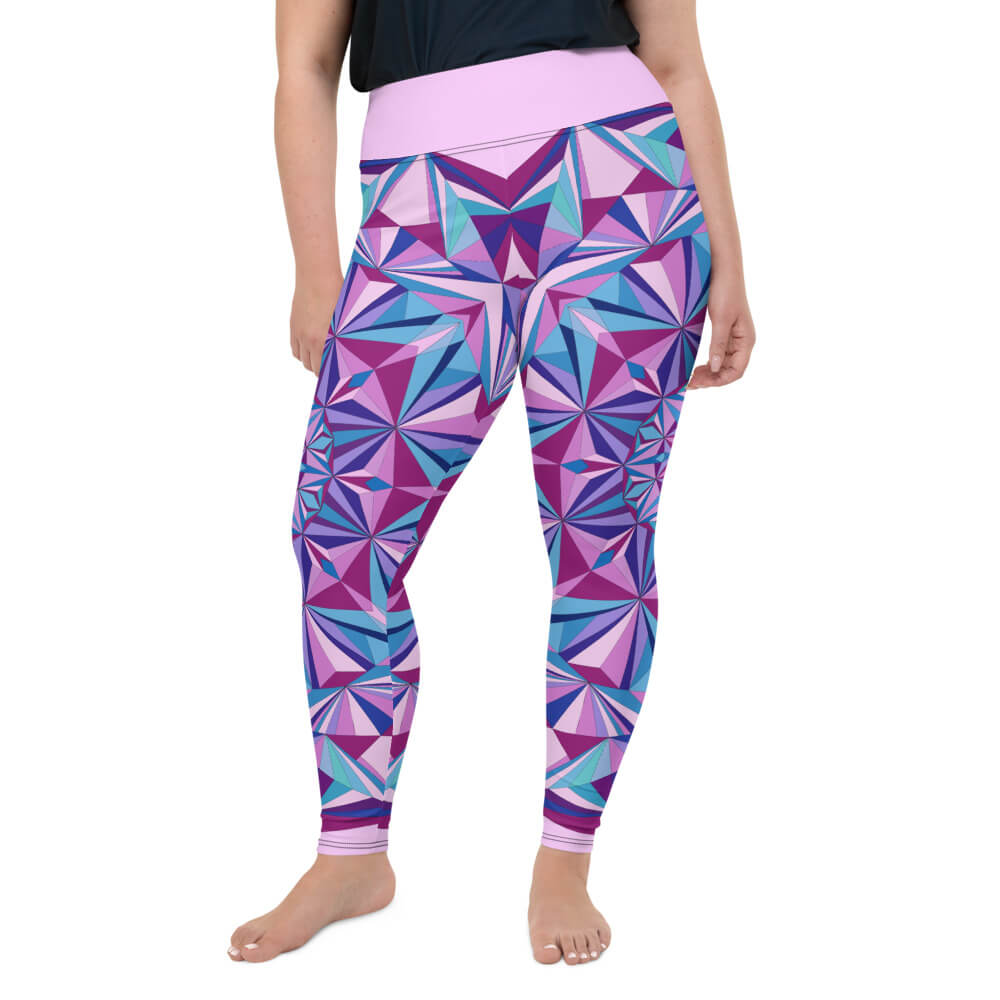 Blue and Pink Plus Size Leggings - Diamond Light Mandala