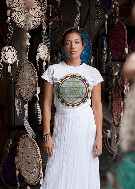 Women's Boho T-Shirt - Gold and Blue Sri Yantra
