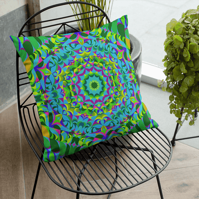 "Green and Purple Pillowcase, Large 22""x22"" - The Green Ray"