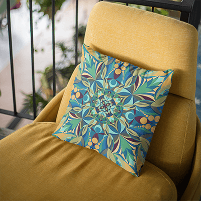 "Yellow and Green Pillowcase - Square 18""x18"" - Gaia Design"