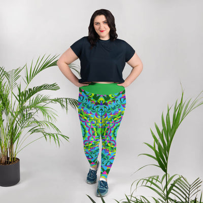 Blue and Green Plus Size Leggings - Green Ray Mandala