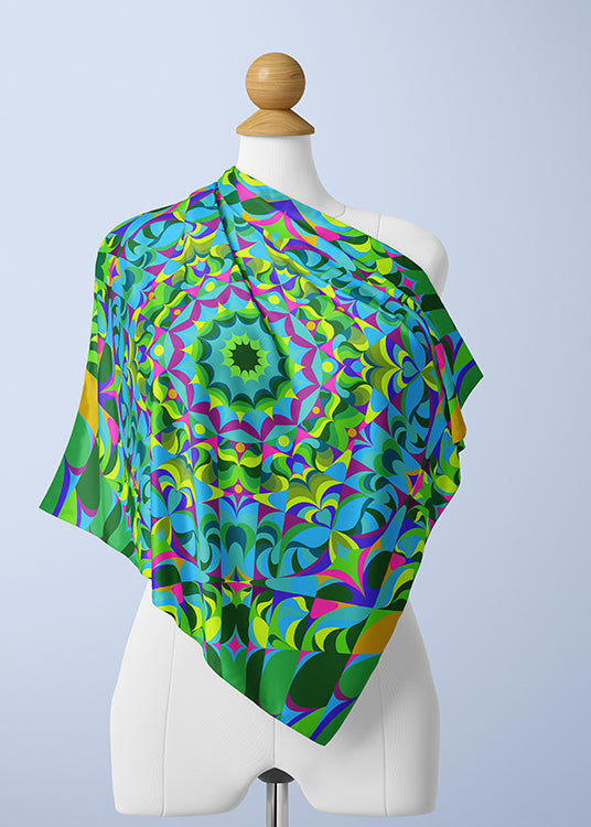 Green and Purple Silk Scarf - The Green Ray Mandala