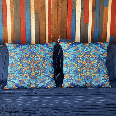 "Blue and Orange Pillowcase - Square 22""x22"" - The Bee's Merkabah Design"