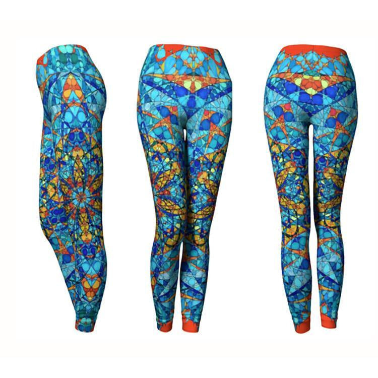 Blue with Orange Details Mandala Leggings - The Honey Bee's Merkabah Mandala
