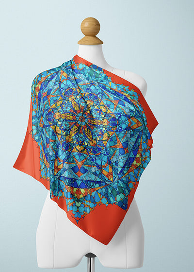 Orange and Blue Silk Scarf - The Honey Bee's Merkabah