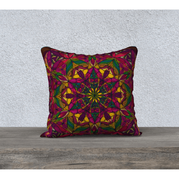 "Deep Reds Pillowcase - Square 18""x18"" - New Gaia Design"